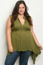 Womens Plus Size Olive Green Long Babydoll Top 2XL NWT