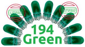 (10)194 Green T10 Wedge Car Mini Bright Light bulb W5W 5050 2825 158 192 168