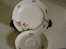 CHRISTINEHOLM Porcelain BREAD PLATE  & SAUCER  ROSE Pattern,   Mint CONDITION
