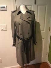 $730 NWT THEORY Lisel classic wool herringbone charcoal trench coat jacket L