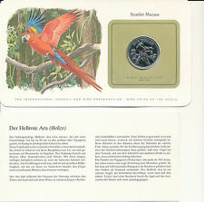 Bird Coins of the World-BELIZE 1 dollar 1980 UNC Scarlet Macaw