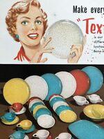 Fantastic 1959 Melmac Texture Pattern Melamine Dinnerware Color Ad Page MCM