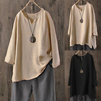 Plus Size Womens Summer Loose Baggy Tops Tunic T Shirts Short Sleeve Blouse Tee