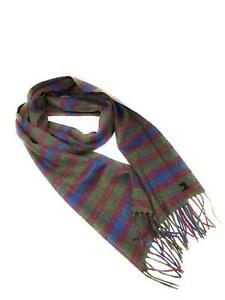 100% Cashmere Scarf - Green And Burgundy Check -  Made in Scotland
