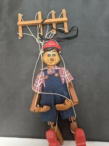 Vintage Pinocchio Marionette Wooden Puppet #SH