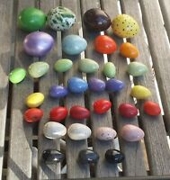 """33 Vintage Ceramic Decorated Glazed Easter Eggs - 3/4"""" to 1 1/2"""""""