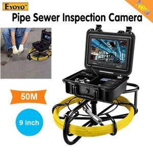 "Eyoyo 50M Cable Drain Pipeline Endoscope Inspection Camera 9"" Waterproof 1000TVL"