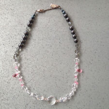 Swarovski Crystal Necklace, with Clear, Pastel Pink and Smokey Grey Beads