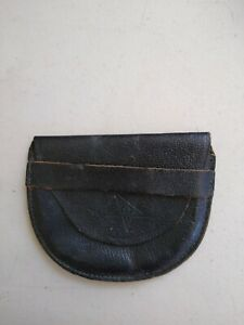Vintage Black Leather Coin Purse/ Coin Pouch - star design