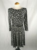 Ladies Dress Size 14 PHASE EIGHT Black Ivory Fit And Flare Stretch Party Evening