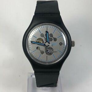 Swatch AG 1997 Mens Rare Autoquarz Black Rubber Date Analog Watch  Not Running