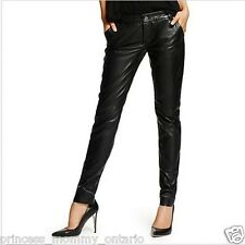GUESS by Marciano Black Lamb Leather Leggings Skinny Pants 0 XS