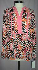 GIBSON LATIMER Peach/Orange/Brown/White Size M 8/10 Blouse V-Neck Retail $69