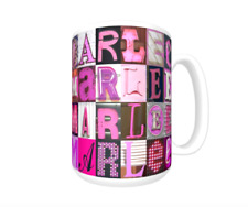 MARLEE Coffee Mug / Cup featuring the name in photos of PINK sign letters