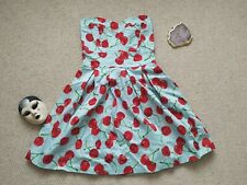 IXIA USA Boutique 50s Style Sweetheart Blue And Red Cherry Print Dress Size S 🍒