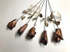 Lot of 5 - Copper & Brass Metal Rose Flowers - Custom Metal Art - VTG