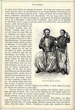 Syrer aus den Bergen des Libanon in Tracht u. Waffen * Originalblatt von 1884
