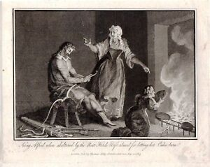 1813 Georgianisch Aufdruck ~ King Alfred Kuchen Burn Von Feuer