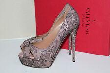 New sz 8 / 38 Valentino Crystal Rose Lace Platform Peep Toe Pump Sandal Shoes