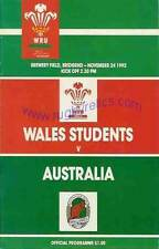 AUSTRALIA 1992 RUGBY TOUR PROGRAMME v WELSH STUDENTS 24th November at Bridgend