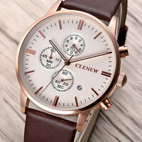Luxus Herren Echtes Leder Business Armbanduhr Edelstahl Date Analog Quarz Uhren