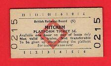 Edmondson Railway Ticket ~ BRB(S) Platform - Mitcham - 3d: Red Diamond - 1973