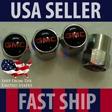 GMC Logo Valve Stem Caps Set Covers Chromed Black Wheel Tire Tyre Emblem USA
