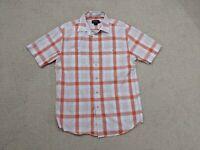 Pendleton Button Up Shirt Mens Medium Orange Gray White Short Sleeve Cotton
