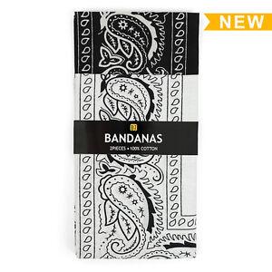 Two Pack Black & White 100% Cotton Classic Paisley Bandana Handkerchief Set