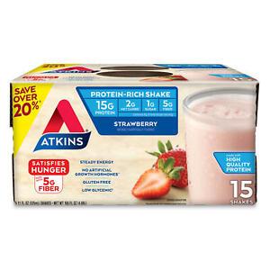 Atkins Gluten Free Protein-Rich Shake, Strawberry, Keto-Friendly (15 pk.)
