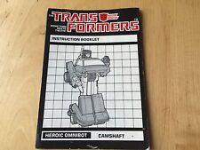 Transformers G1 CAMSHAFT omnibot instruction book manual
