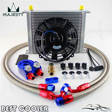 """30 Row -8AN AN8 engine Transmission Oil Cooler + 7"""" Electric Fan Kit BLUE"""