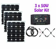 3 x 50W 150W Watt Solar Panel panneau solaire Kit controller 12V RV Boat Camping