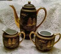 Vintage Kutani Teapot with Creamer and Sugar Bowl ~ Black & Gold