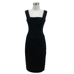 N1427 BLACK HALO Designer Dress Size Small 4 6 Black Solid Sheath Sleeveless