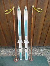 "Ready to Use Cross Country 43"" PELTONEN 110 cm Skis WAXLESS Base +  Poles"