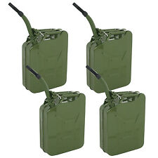 4X 5Gallon Jerry Can Gas Fuel Steel Tank Green Military NATO Style 20L Storage