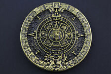 GOLD AZTEC CALENDAR BELT BUCKLE MAYAN MEXICO METAL TRIBAL