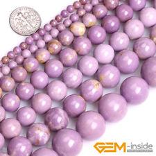 Natural Purple Phosphosiderite Gemstone Semi Precious Round Loose Beads 15