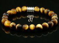 Tigerauge Tigereye Armband Bracelet Perlenarmband Buddha braun 8mm
