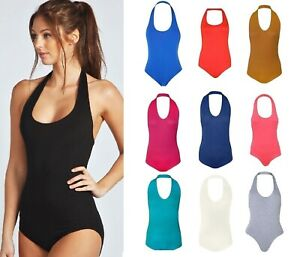 Womens Bodysuit Ladies Halter Neck Sleeveless Plunge Stretchy Plain Leotard Tops
