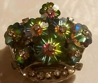 Vintage Crown Pin Green Pink Blue Rhinestone Multicolored Faceted Flowers