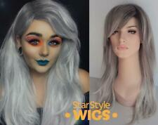 DELUXE LONG GREY SILVER OMBRE WIG WITH BLACK ROOTS HEAT RESISTANT FASHION