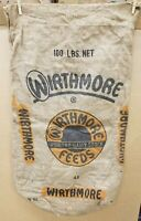 Vintage Wirthmore Feeds Poultry Dairy Stock 100 lb. Burlap Seed~Feed Bag #48