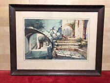 """Pierre Jaillet (1893- 1957) Aquarelle Ancienne  """" EZE LE NID D'AIGLE """" Signée"""