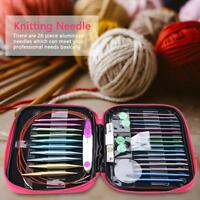 26PC Interchangeable Knitting Needle Yarn Organiser Case Kit with Circular Wires