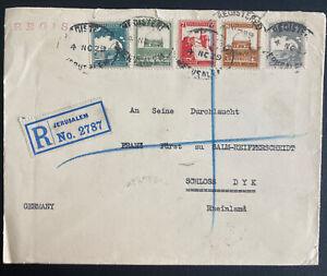 1929 Jerusalem Palestine Registered Cover To Schloss Germany