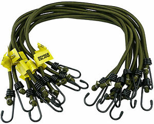 Elasticated Bungee Cords Military Army Basha Straps Hook Luggage 8mm Olive Green