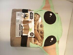 Disney Star Wars Baby Yoda Hooded Bath Towel with Ears From The Mandalorian NEW