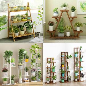 Small Medium Large Multi Tier Wooden Plant Stand Flower Rack Shelf Bonsai Holder